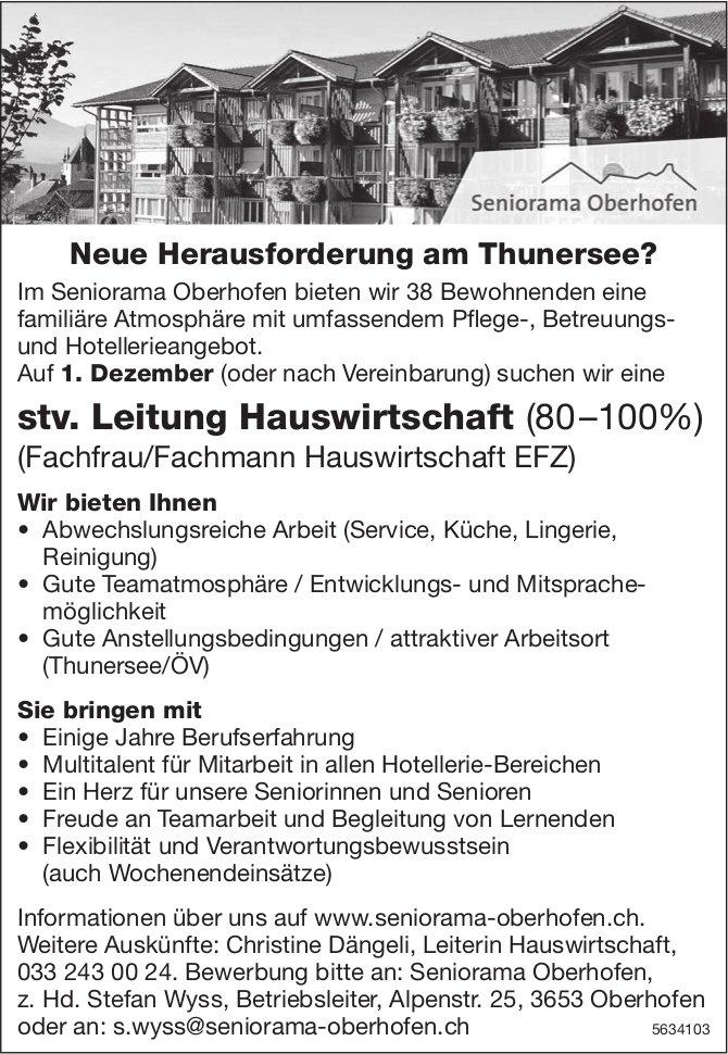 stv. Leitung Hauswirtschaft, Seniorama Oberhofen, gesucht