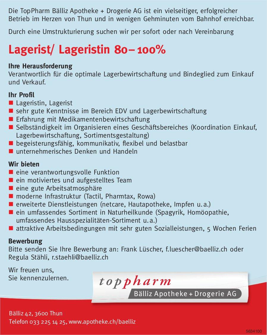 Lagerist/ Lageristin, Toppharm Bälliz Apotheke, Thun, gesucht