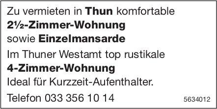 2½-Zimmer-Wohnung sowie Einzelmansarde in Thun und 4-Zimmer-Wohnung im Thuner Westamt zu vermieten