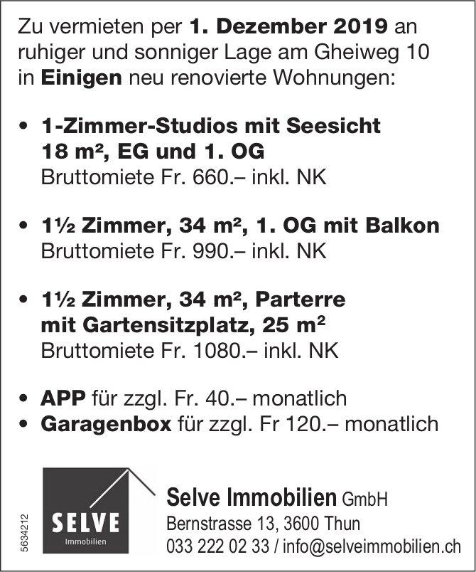 1-Zimmer-Studios sowie 1.5-Zimmer-Wohnungen in Einigen zu vermieten