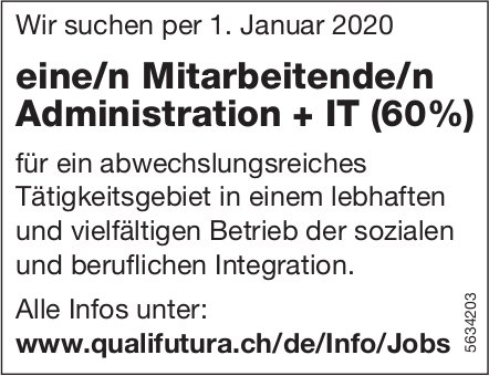 Mitarbeitende/n Administration + IT, Qualifutura, gesucht