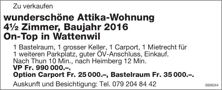 wunderschöne Attika-Wohnung 4½ Zimmer, Baujahr 2016 On-Top in Wattenwil zu verkaufen