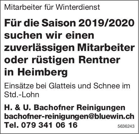 Mitarbeiter für Winterdienst bei H. & U. Bachofner Reinigungen gesucht