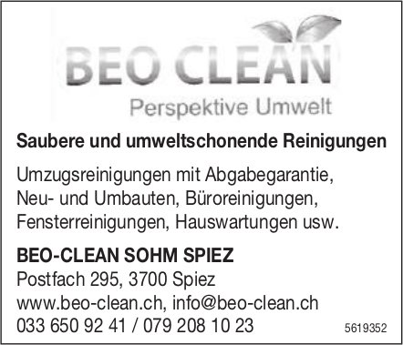 BEO-CLEAN SOHM SPIEZ - Saubere und umweltschonende Reinigungen