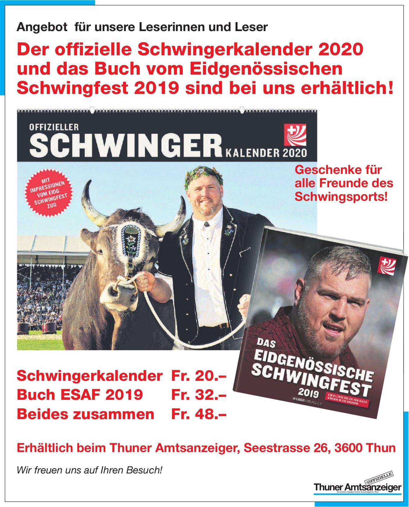 Schwingerkalender 2020 & Buch vom Eidgenössischen Schwingfest 2019 bei uns erhältlich!