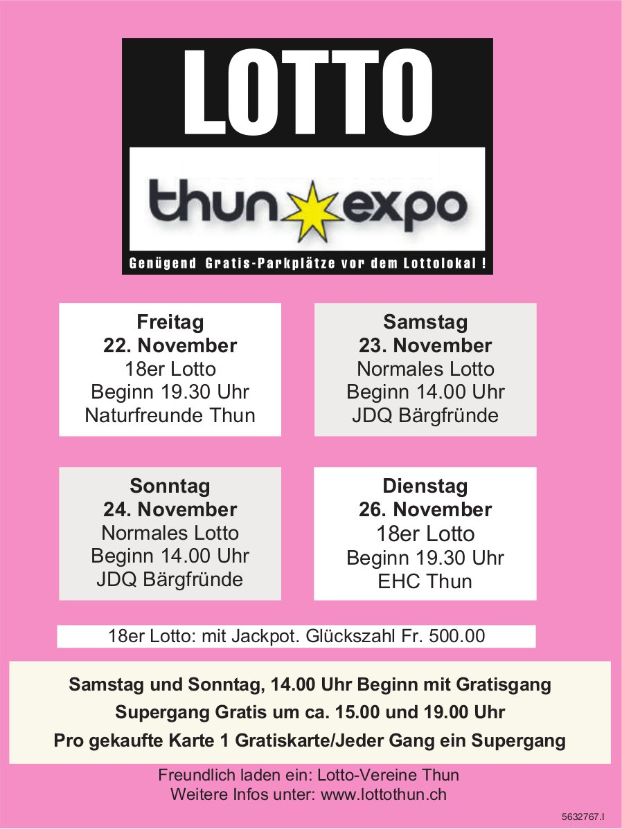 LOTTO Thun Expo, 22./23./24./26. November