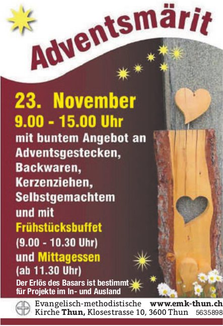 Evangelisch-methodistische Kirche Thun - Adventsmärit am 23. November