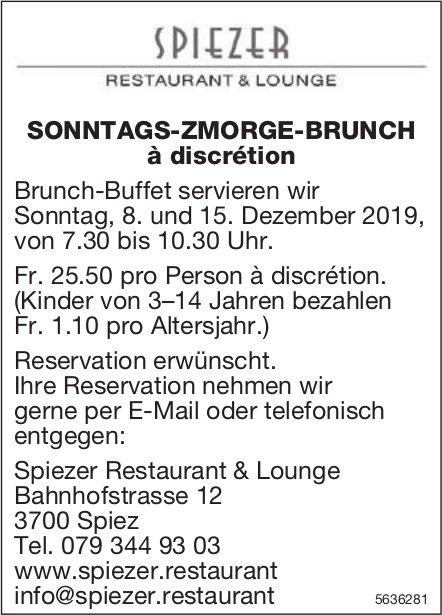 Spiezer Restaurant & Lounge - SONNTAGS-ZMORGE-BRUNCH à discrétion, 8. und 15. Dezember