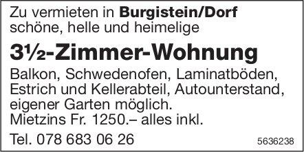 3½-Zimmer-Wohnung in Burgistein/Dorf zu vermieten