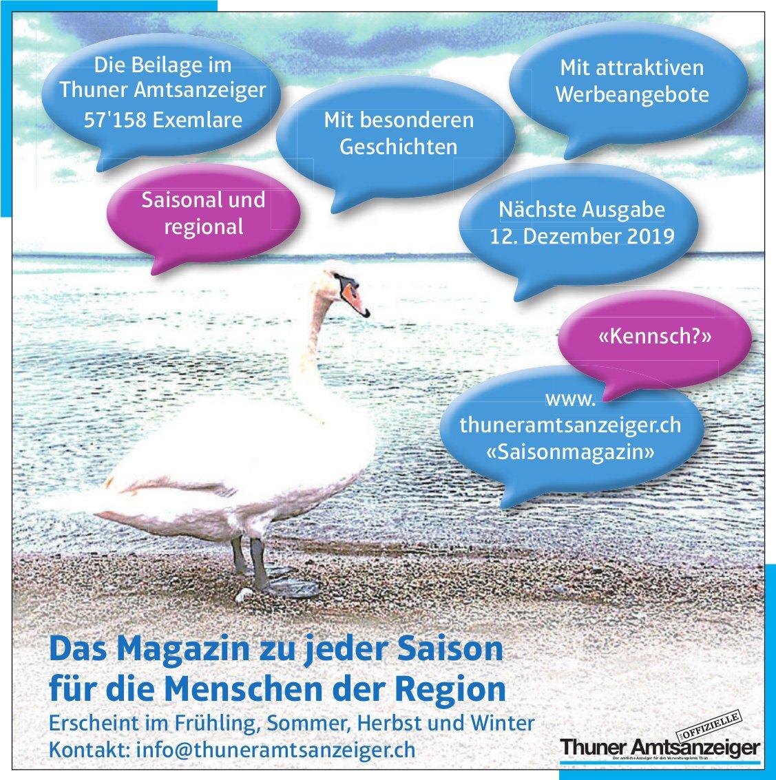 Thuner Amtsanzeiger - Das Magazin zu jeder Saison für die Menschen der Region