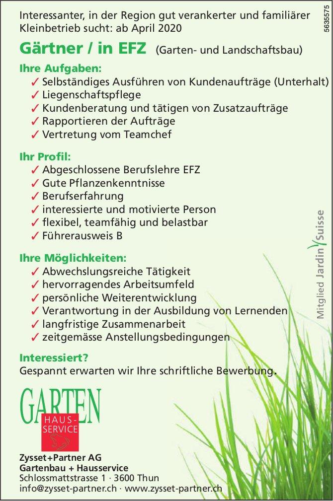 Gärtner / in EFZ (Garten- und Landschaftsbau) bei Zysset+Partner AG gesucht