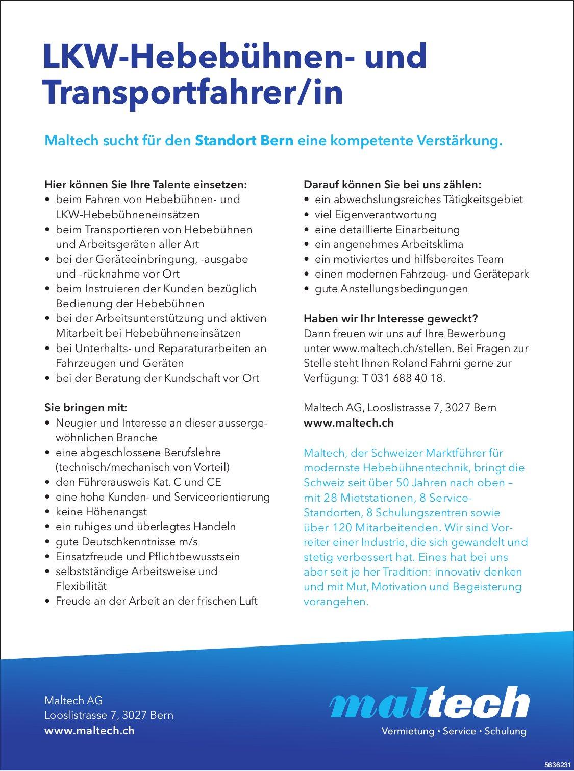 LKW-Hebebühnen- und Transportfahrer/in bei Maltech AG gesucht