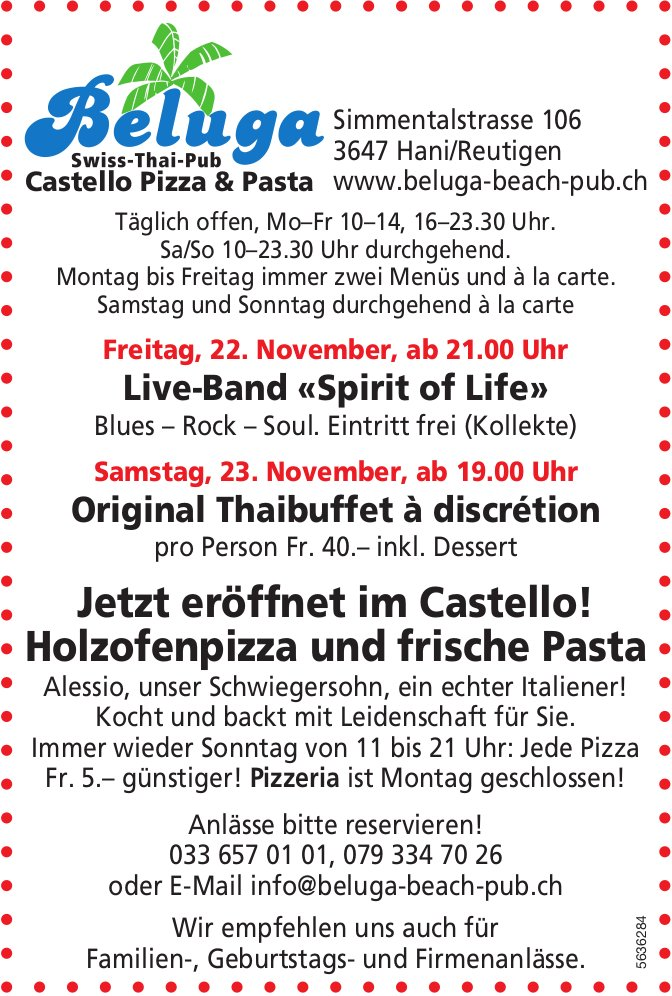 Beluga Swiss-Thai-Pub - Programm & Events