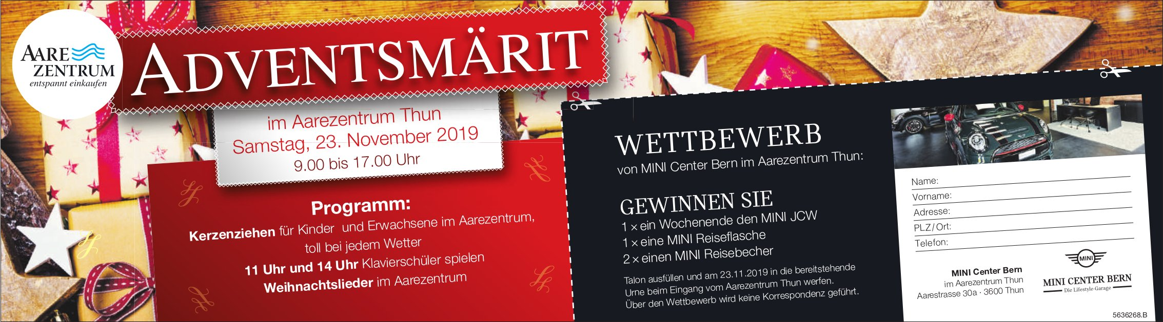 ADVENTSMÄRIT, 23. November, Aarezentrum Thun - Wettbewerb