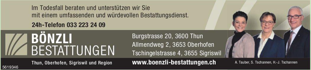 BÖNZLI BESTATTUNGEN, Thun, Oberhofen, Sigriswil & Region