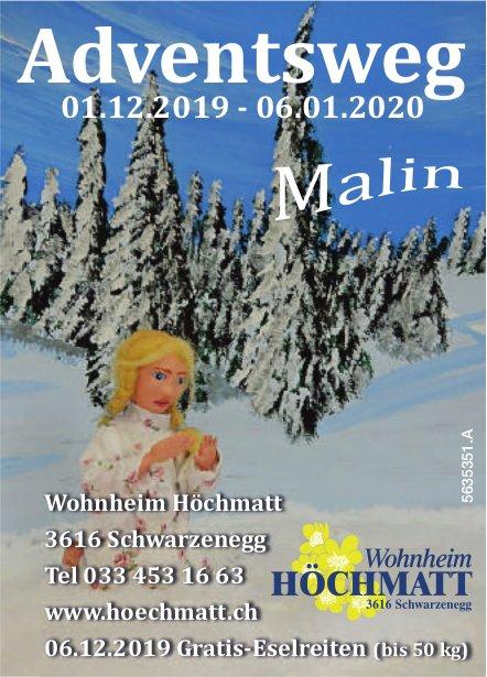 Wohnheim Höchmatt - Adventsweg, 1. Dezember 2019 bis 6. Januar 2020