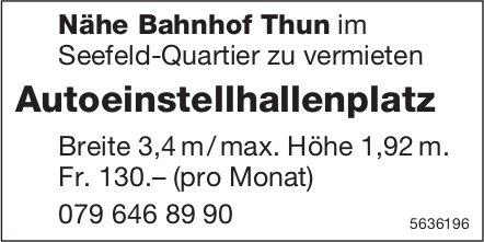 Autoeinstellhallenplatz Nähe Bahnhof Thun im Seefeld-Quartier zu vermieten