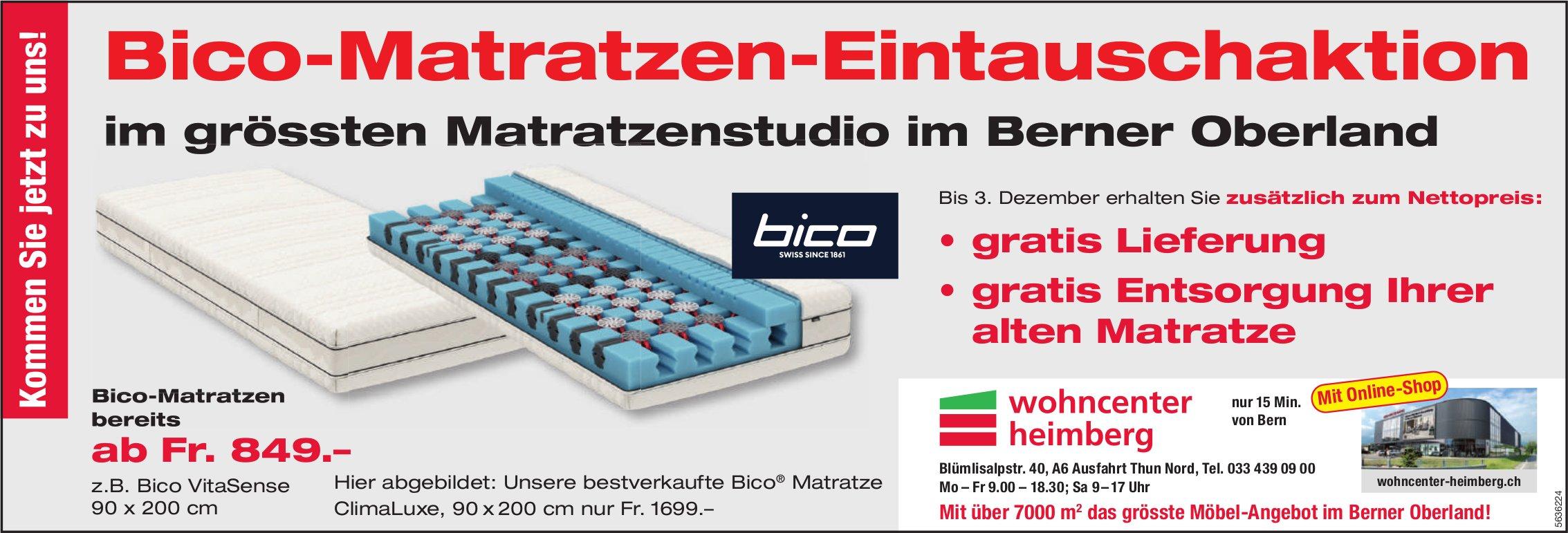 Wohncenter Heimberg - Bico-Matratzen-Eintauschaktion