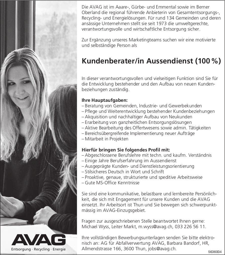 Kundenberater/in Aussendienst (100 %) bei AVAG gesucht