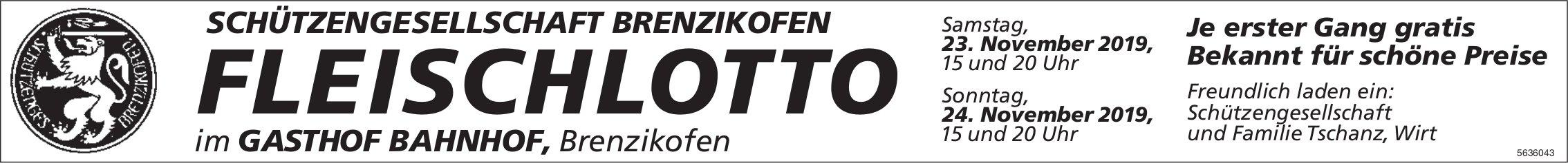 SCHÜTZENGESELLSCHAFT BRENZIKOFEN - FLEISCHLOTTO, 23. + 24. November
