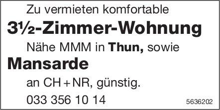 3½-Zimmer-Wohnung sowie Mansarde Nähe MMM in Thun zu vermieten