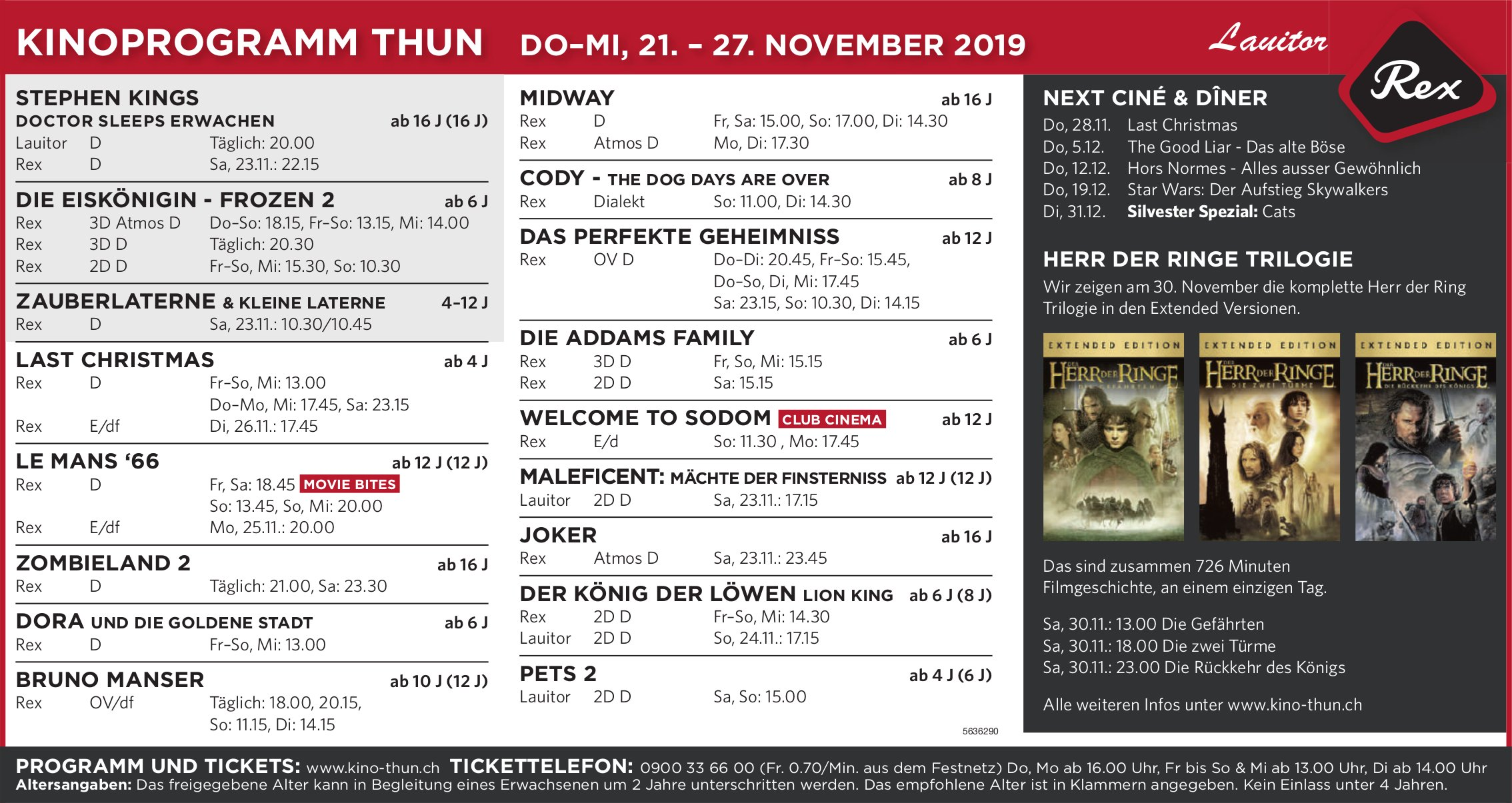 KINOPROGRAMM THUN DO–MI, 21. – 27. NOVEMBER