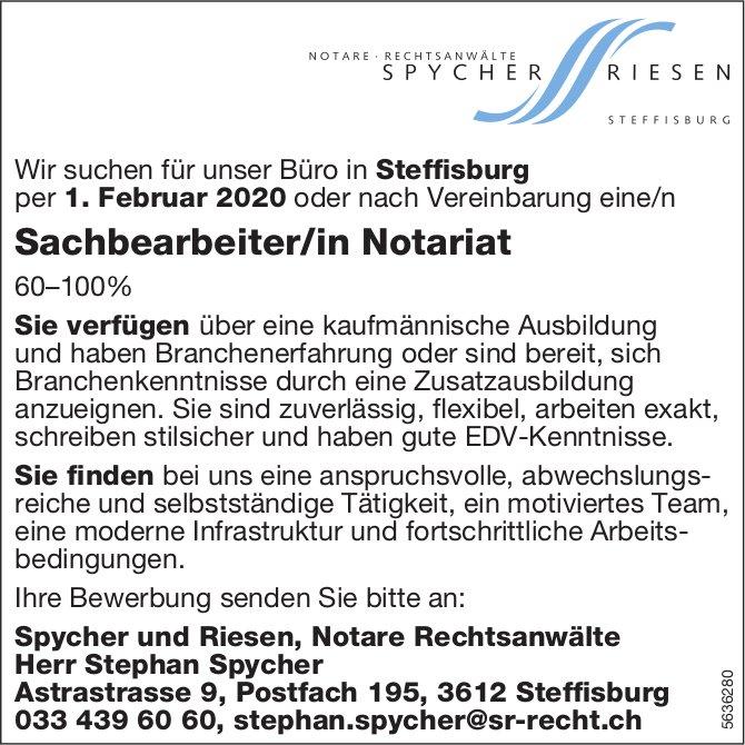 Sachbearbeiter/in Notariat 60–100% bei Spycher und Riesen, Notare Rechtsanwälte, gesucht