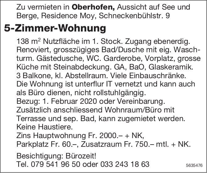 5-Zimmer-Wohnung in Oberhofen zu vermieten
