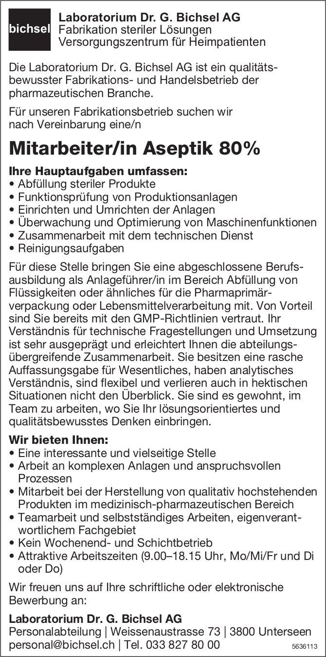 Mitarbeiter/in Aseptik 80% bei Laboratorium Dr. G. Bichsel AG gesucht