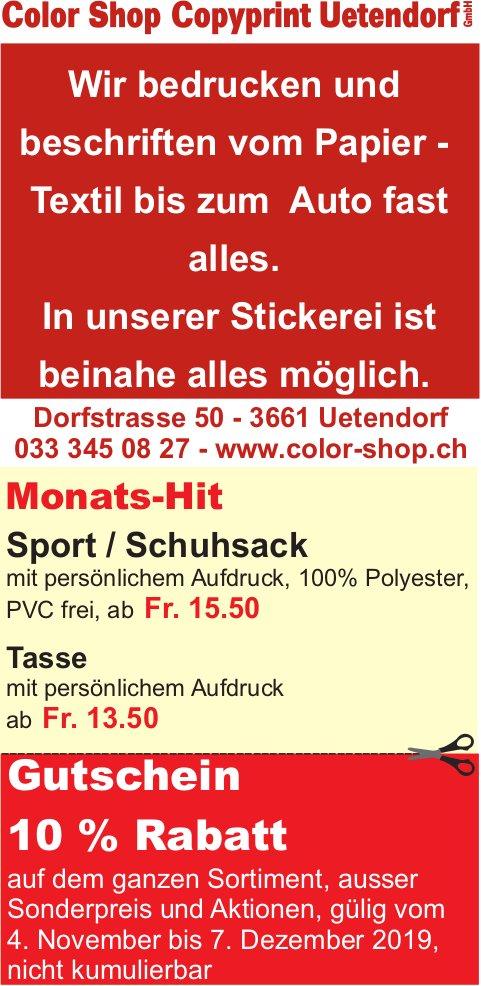 Color Shop Copyprint Uetendorf - Gutschein 10% Rabatt bis 7. Dezember