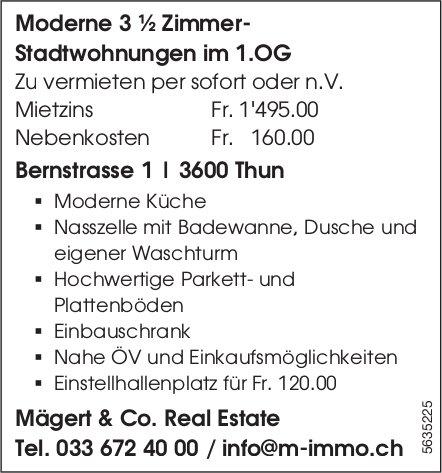 Moderne 3 ½ Zimmer- Stadtwohnungen im 1.OG in Thun zu vermieten