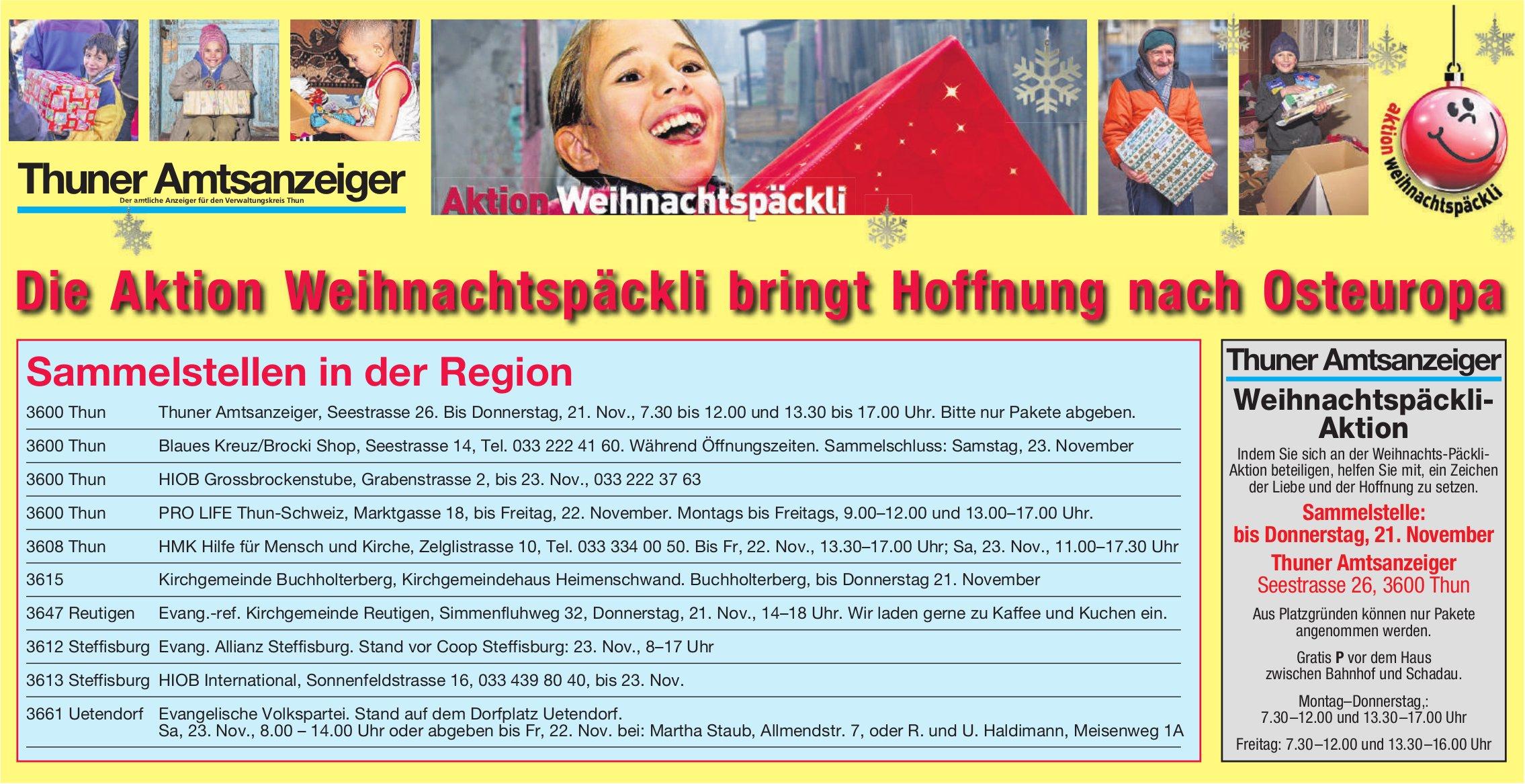 Thuner Amtsanzeiger - Weihnachtspäckli-Aktion