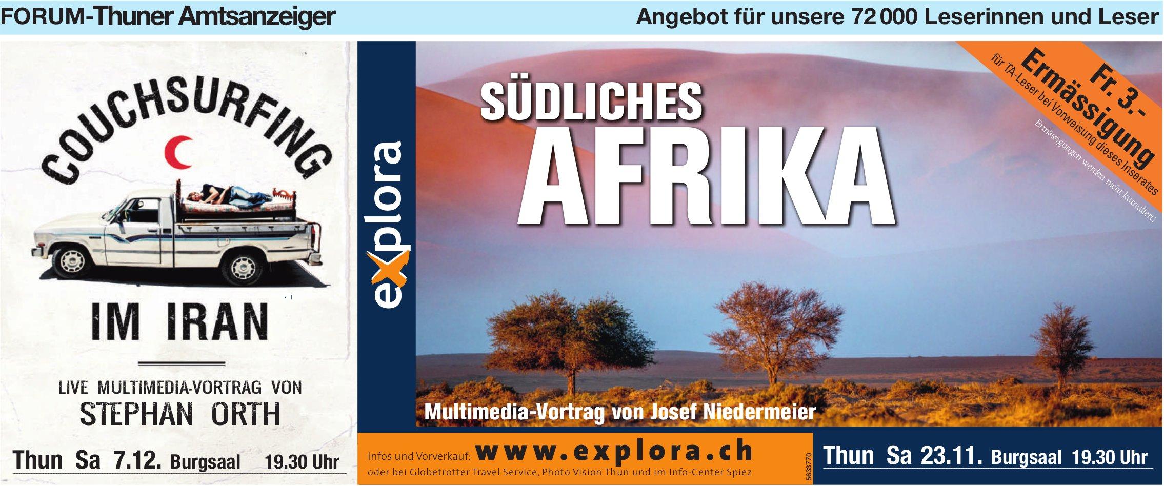 Forum-Thuner Amtsanzeiger - SÜDLICHES AFRIKA, Multimedia-Vortrag von Josef Niedermeier, 23. November