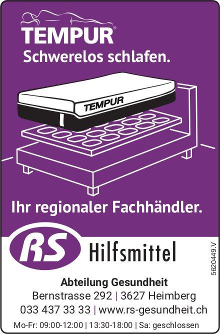 RS Hilfsmittel - TEMPUR: Schwerelos schlafen.