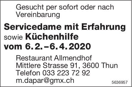 Servicedame mit Erfahrung sowie Küchenhilfe, Restaurant Allmendhof, Thun, gesucht