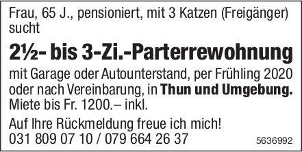 2½- bis 3-Zi.-Parterrewohnung in Thun und Umgebung gesucht