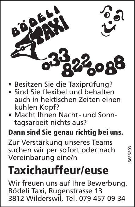 Taxichauffeur/euse, Bödeli Taxi, Wilderswil, gesucht