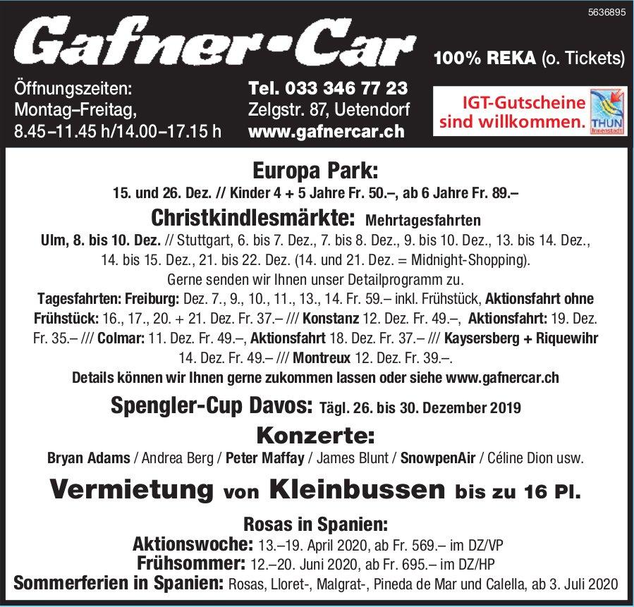 Gafner-Reisen - Programm & Events