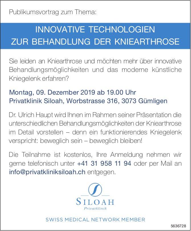 "Privatklinik Siloah - Publikumsvortrag ""Innovative Technologien zur Behandlung der Kniearthrose"""