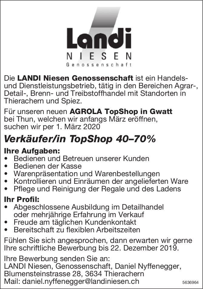 Verkäufer/in TopShop 40–70%, AGROLA TopShop in Gwatt, gesucht