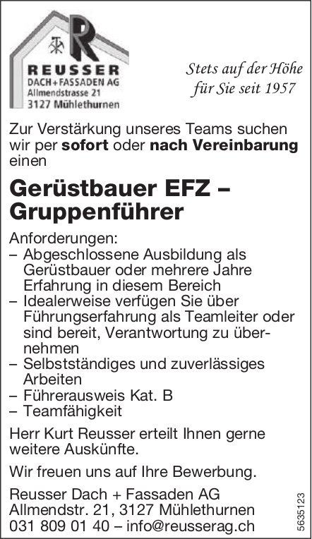 Gerüstbauer EFZ – Gruppenführer, Reusser Dach + Fassaden AG, Mühlethurnen, gesucht