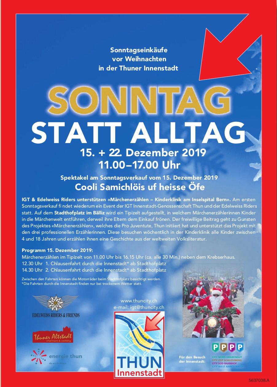 Sonntagseinkäufe vor Weihnachten in der Thuner Innenstadt, 15. + 22. Dezember