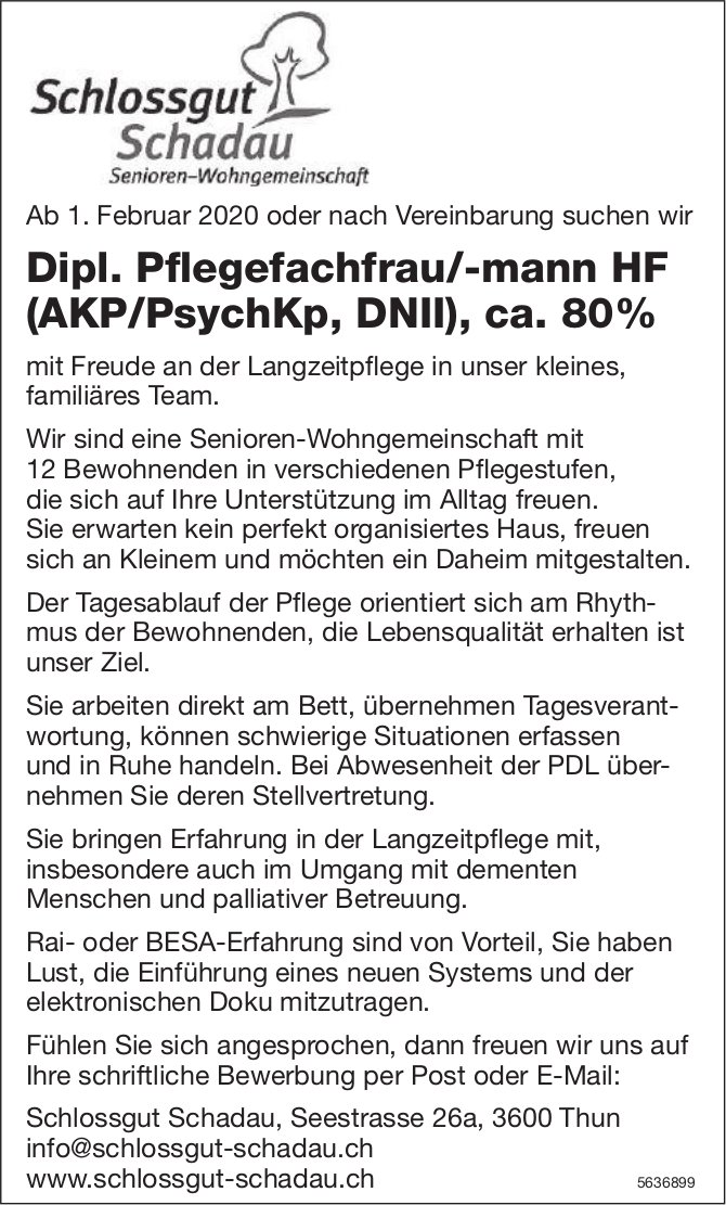 Dipl. Pflegefachfrau/-mann HF (AKP/PsychKp, DNII), ca. 80%, Schlossgut Schadau, Thun, gesucht