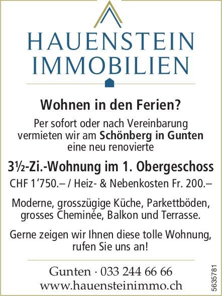 3½-Zi.-Wohnung im 1. Obergeschoss am Schönberg in Gunten zu vermieten