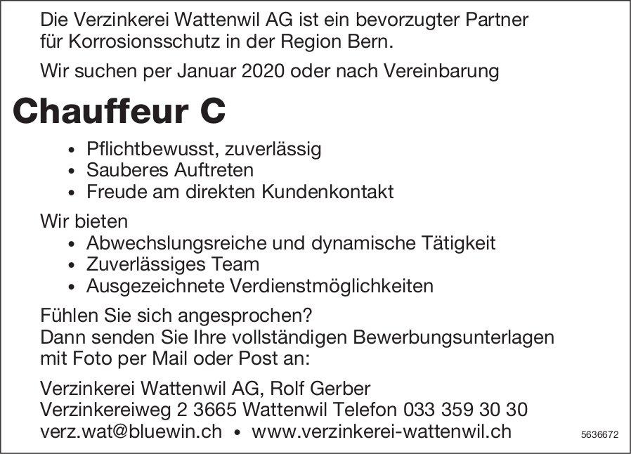 Chauffeur C, Verzinkerei Wattenwil AG, gesucht