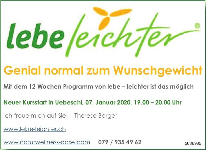Lebe leichter - Genial normal zum Wunschgewicht: Neuer Kursstart in Uebeschi, 07. Januar