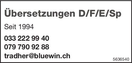 Übersetzungen D/F/E/Sp. Seit 1994