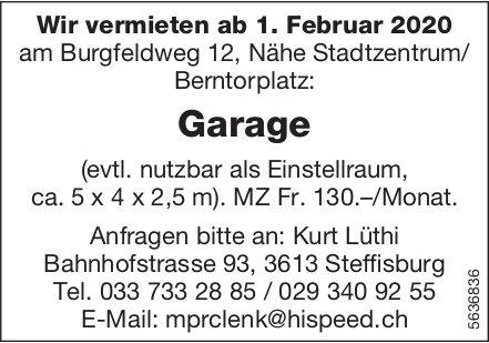 Garage Nähe Stadtzentrum/ Berntorplatz zu vermieten