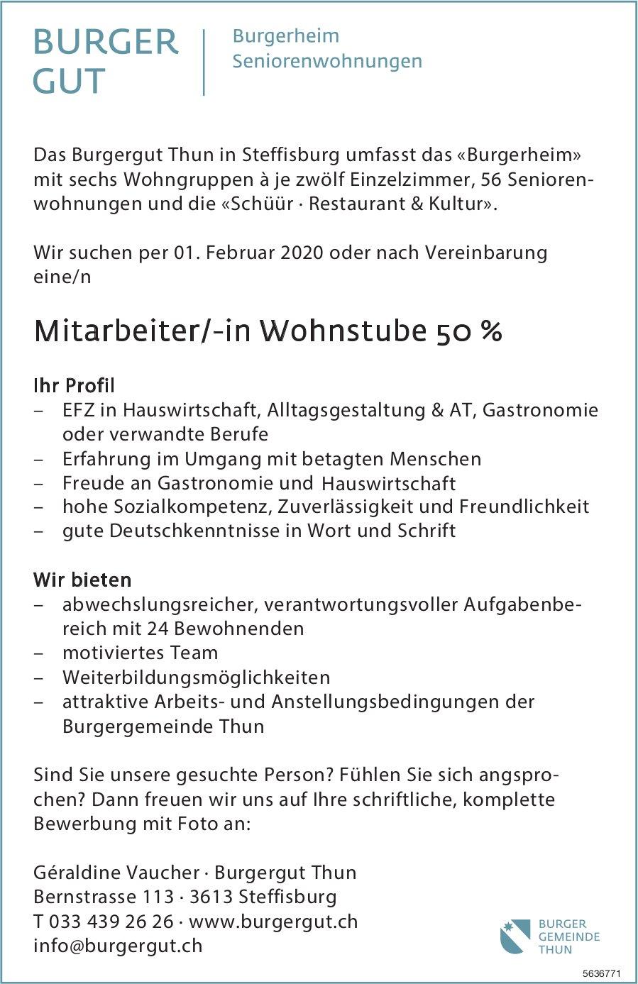 Mitarbeiter/-in Wohnstube 50 %, Burgergut Thun in Steffisburg, gesucht