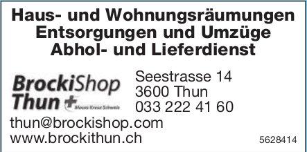 BrockiShop Thun - Haus- und Wohnungsräumungen/ Entsorgungen und Umzüge usw.